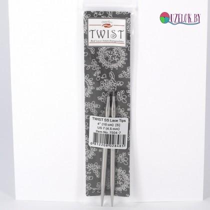 Спицы  № 4.5  съемные металл 10 см  TWIST SS Lace Tips