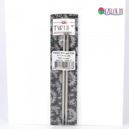 Спицы  № 4 съемные металл 13 см  TWIST SS Lace Tips