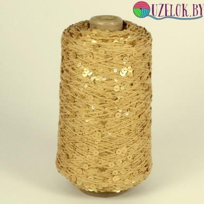 100%   хлопок  примерно 250м/100г  бежевый, цвета спелой пшеницы + золотые, матовые  пайетка