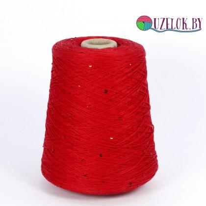 100% хлопок 370м/100гр  красный +  пайетка в цвет пряжи