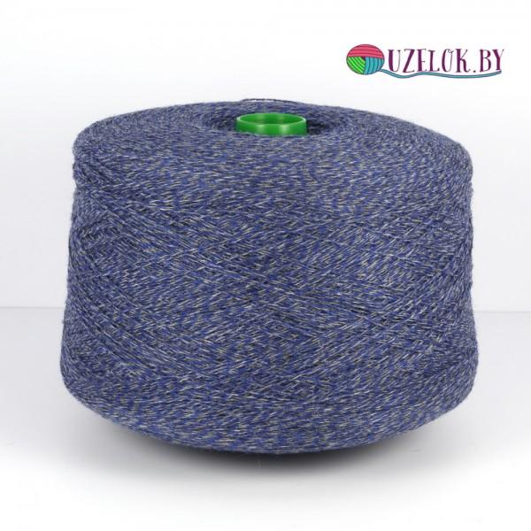 100% шерсть  art Shetland 2/13 650м/100гр синий+стальной меланж