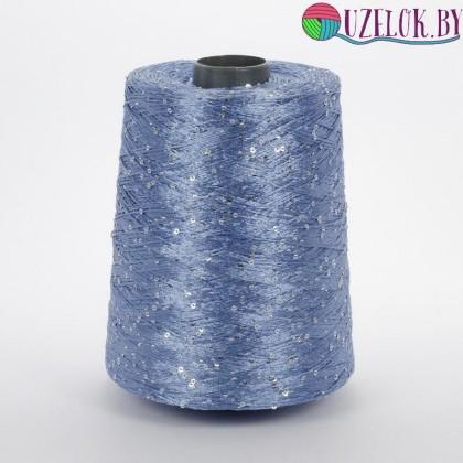 Вискоза/полиамид  750м/100гр. голубой  насыщенный+ серебристая пайетка