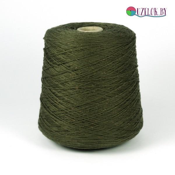 15% кашемир  85%  меринос +люрекс изготовлено для BRUNELLO CUCINELLI   320м/100г  осенний зелёный+терракотовый люрекс